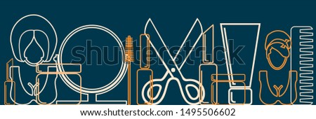 Cosmetology and hairdressing concept. Vector template for presentation. Horizontal thin line style web banner