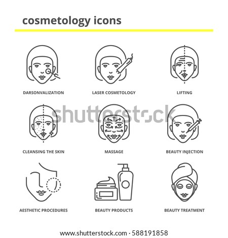 Shutterstock Cosmetology icons set: darsonvalization, laser cosmetology, lifting, cleansing the skin, massage, beauty injections, aesthetic procedures, beauty products and treatment
