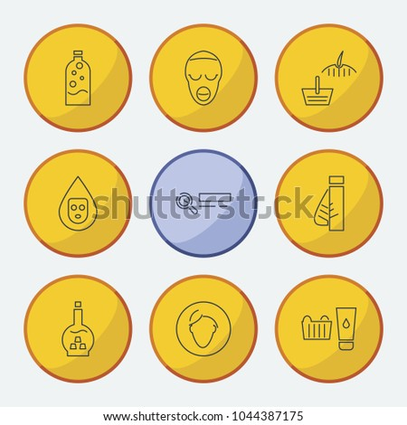Cosmetology icons set with beauty product, product skin and facial mask elements. Set of cosmetology icons and moisturizing concept. Editable vector elements for logo app UI design.