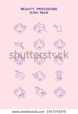 Cosmetology line icons set. Cosmetic surgery, beauty, marking, skin, and more.