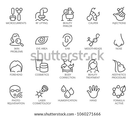 Cosmetology line icons set. 20 outline pictograms isolated. Beauty therapy, bodycare, healthcare, wellness treatment linear symbols. Correction, rejuvenation, anti-aging procedure logo. Vector graphic Foto stock ©