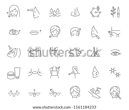 cosmetology, skin care, body care, anti-aging procedure, beauty therapy line icon set