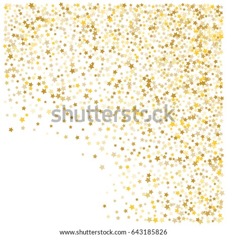 Cosmic abstract vector background with gold stars. Decorative frame edge with golden night sky objects on white. Glitter star confetti, magic shining sparkles. Celebration, luxurious lifestyle. #643185826