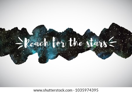 Cosmic, cosmos, astro watercolor vector background. Border with motivation, encouraging quote. Long, elongated shape, wide stripe, uneven artistic edge. Aquarelle galaxy, night sky with stars texture.