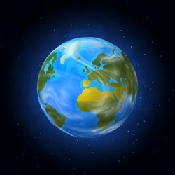 Cosmic Earth view, vector illustration