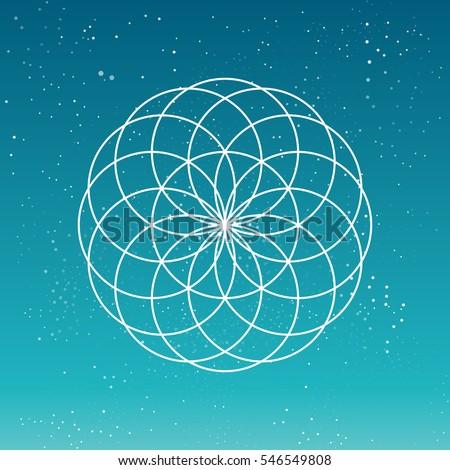 Cosmic Flower, circular geometric shape, spirograph linear pattern.