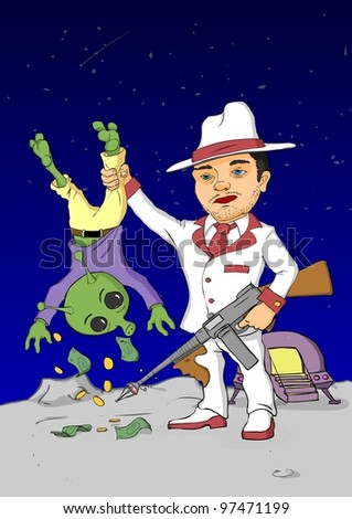 Cosmic gangster withdrawing money from alien