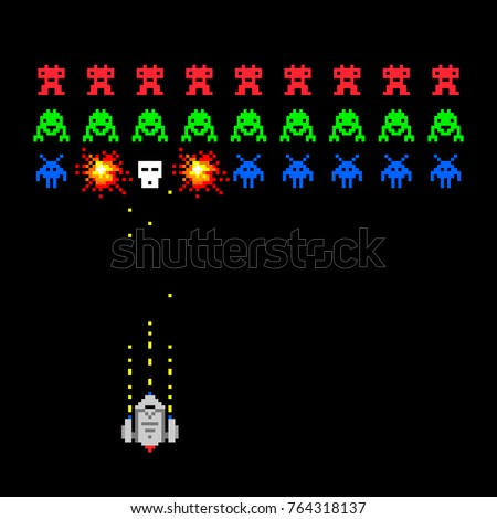 cosmic invaders game pixel