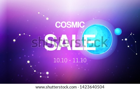Cosmic sale banner vector illustration. Spaceship travel to new planets and galaxies. Space trip future technology. Open or outer space. Planets with satellite and constellation.