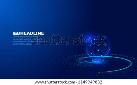 Cosmic vortex, point line connection, digital earth, scientific and technological  innovation concept vector background