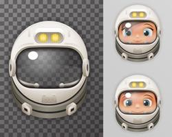 Cosmonaut Helmet Realistic 3d Astronaut Spaceman Boy Girl Tantamareska Poster Transperent Glass Background Icon Template Mock Up Design Vector Illustration