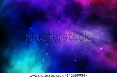 Cosmos background. Colorful space with stardust and shining stars. Bright nebula and milky way. Blue galaxy backdrop. Night starry sky. Universe banner. Vector illustration.