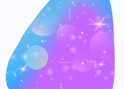 Cosmos background with abstract holographic landscape and future universe. 3d fluid. Futuristic gradient and shape. Minimal mountain silhouette with wavy glitch. Memphis cosmos background.