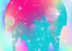 Cosmos background with abstract holographic landscape and future universe. Futuristic gradient and shape. 3d fluid. Stylish mountain silhouette with wavy glitch. Memphis cosmos background.