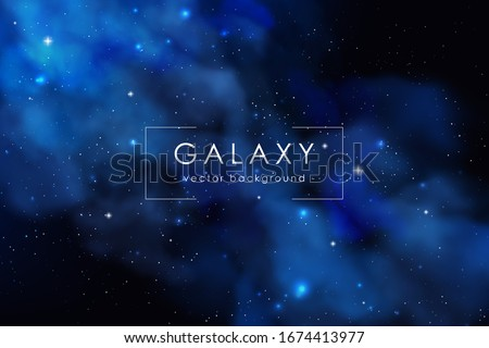 Cosmos background with realistic stardust, nebula and shining stars. Colorful galaxy backdrop. Space vector illustration. Starry night, infinite universe, milky way.