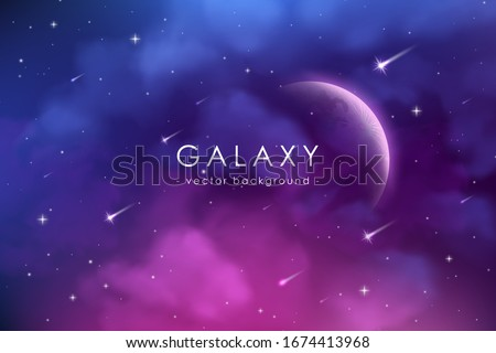 Cosmos background with realistic stardust, nebula, moon and shining stars. Colorful galaxy backdrop. Space vector illustration. Starry night, infinite universe, milky way.