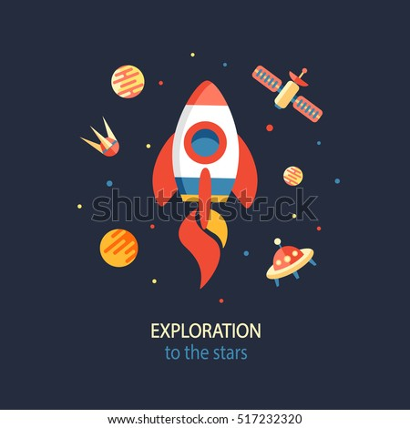 Cosmos Exploration poster. Vector flat outer space poster with rocket in flat style, vector illustration