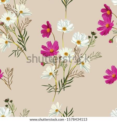 cosmos flower seamless pattern
