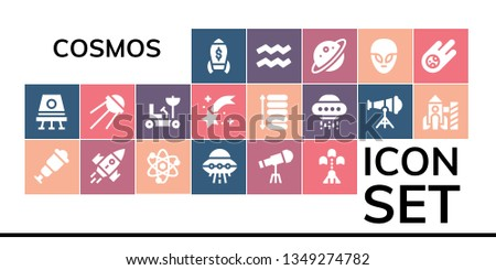 cosmos icon set. 19 filled cosmos icons.  Simple modern icons about  - Rocket, Space capsule, Spyglass, Solar system, Ufo, Telescope, Spaceship, Sputnik, Moon rover, Shooting star