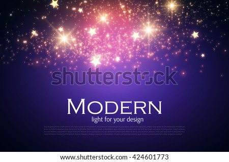 Cosmos Space. Magic Dust Texture. Shining Abstract Background. Sky with Fireworks. Vector illustration