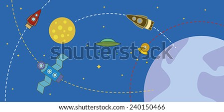 cosmos with rockets and planets