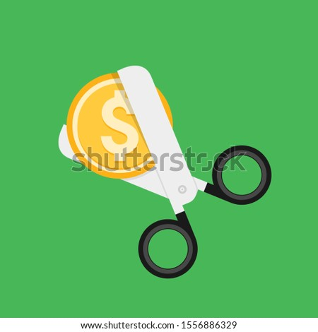Cost cut vector icon. Price cheaper reduce flat icon, reduction rate discount. Stockfoto ©