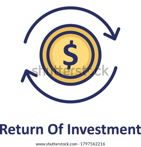 Cost of investment, net profit, return of investment, return on investment, roi, gross income, Cost of investment vector, icon,