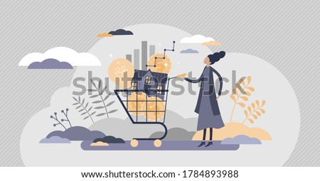 Cost of living with expenses consumption in cart flat tiny persons concept. Family budget plan with affordable payments vector illustration. Lifestyle price for electricity, utilities and mortgage. Сток-фото ©