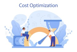 Cost optimization concept. Idea of financial and marketing strategy. Cost and income balance. Spending and cost reduction, while maximizing business value. Isolated flat illustration vector