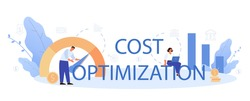 Cost optimization typographic header. Idea of cost and income balance. Spending and cost reduction, while maximizing business value. Isolated flat illustration vector