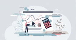 Cost per acquisition or CPA as advertising measurement tiny person concept. Analytic method for web pricing and interest. Marketing efficiency tool to calculate campaign strategy vector illustration.