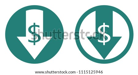 Cost reduce icon. Finance clipart isolated on white background