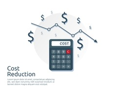 cost reduction concept. calculator and arrow line decrease. dollar money fall down symbol. economy stretching rising drop. Business loss crisis. bankrupt icon. banner vector illustration.