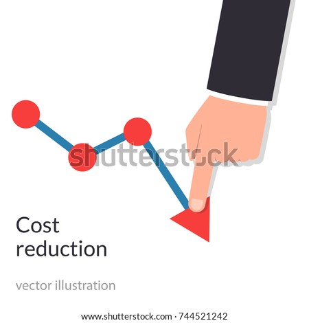 Cost reduction concept. Cost down. Businessman with his hand lowers the arrow of the graph. Decrease down profit. Declining chart. Vector illustration flat design. Isolated on background. ストックフォト ©