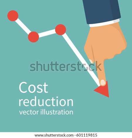 Cost reduction concept. Cost down. Businessman with his hand lowers the arrow of the graph. Vector illustration flat design. Isolated on background. Decrease down profit. Declining chart.