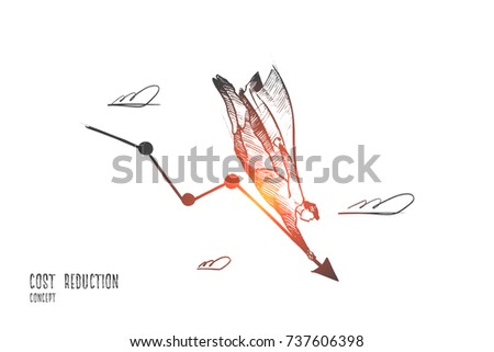Cost reduction concept. Hand drawn graph of cost reduction comes down. Changing prices on the market isolated vector illustration.
