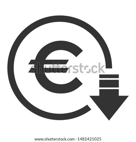 Cost reduction- decrease euro icon. Vector symbol image isolated on background . Photo stock ©