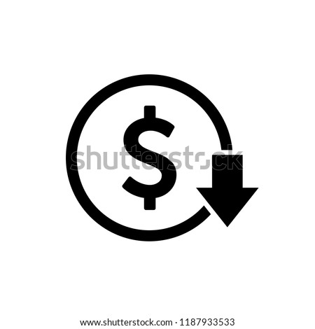 Cost reduction icon. Dollar Down Icon vector