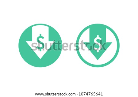 Cost reduction icon. Image isolated on white background. Vector illustration