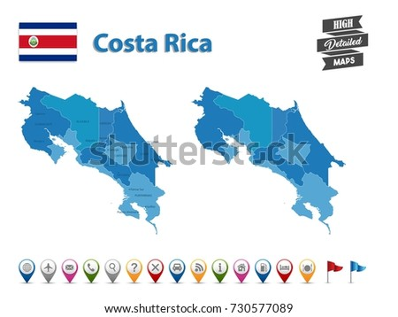 Free Vector Map Of Costa Rica Free Vector Art At Vecteezy - Costa rica detailed map
