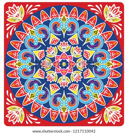 Costa rica ox cart wheel design vector background. Bright and bold traditional design ornament.