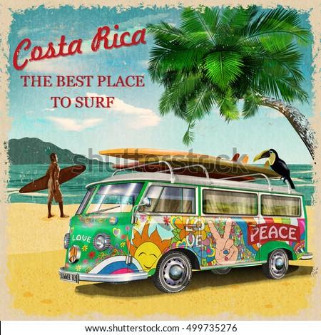 costa rica retro poster