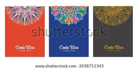 Costa Rica Traditional Ox Cart Wheel  designs and patterns for civic holidays, banners, postcards, posters, notebooks,  stationery - Vectors