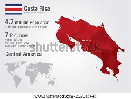 Free vector map of costa rica free vector art at vecteezy costa rica world map with a pixel diamond texture world geography gumiabroncs Images