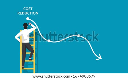 Costs reduction, costs cut, costs optimization business concept. Businessman draw simple graph with descending curve. vector illustration Photo stock ©