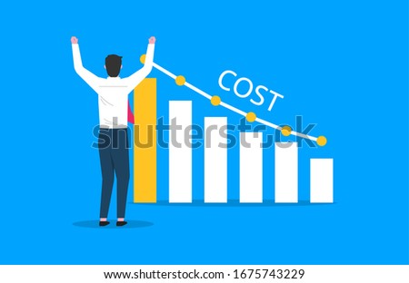 Costs reduction, costs cut, costs optimization business concept. Businessman views graph with descending curve. vector illustration Photo stock ©