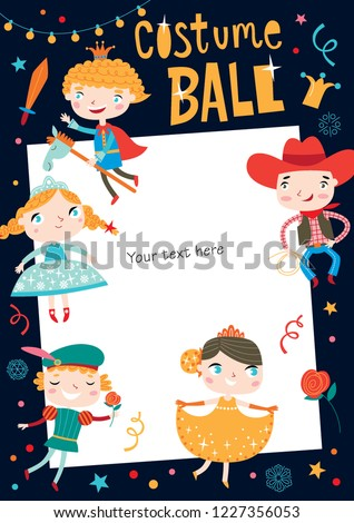 Costume ball invitation. Christmas costume party. Girls and boys wearing fairytale costumes. Dark background.