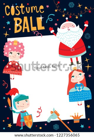 Costume ball invitation. Christmas costume party with Santa. Girls and boys wearing fairytale costumes. Dark background.