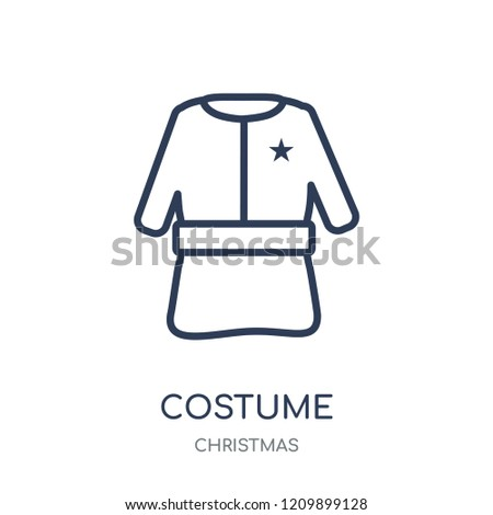 Costume icon. Costume linear symbol design from Christmas collection. Simple outline element vector illustration on white background.