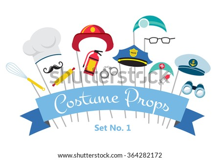 costume party and photo booth props. professions